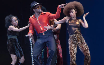 A full colour image showing dancers performing in Get on the Good Foot