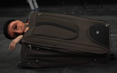 A suitcase with a masked face sticking out